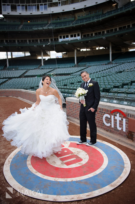 Chicago Cubs Wrigley Field Wedding Photo