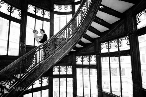 Chicago Rookery Wedding Picture Spiral Staircase