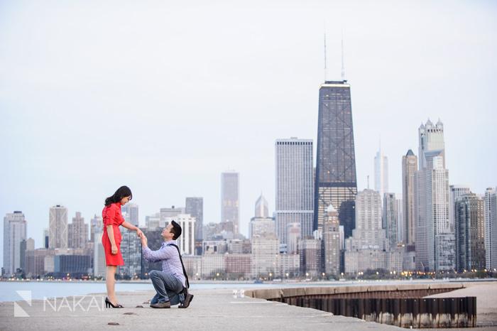 North Avenue Beach Proposal Chicago Wedding Photographer Kenny
