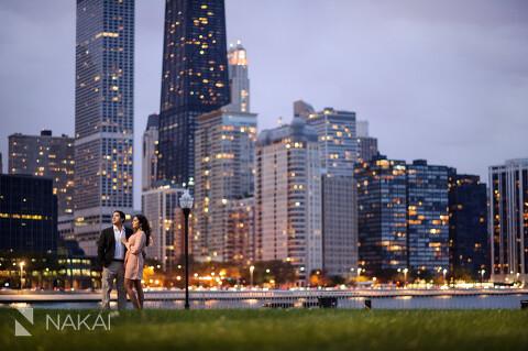 Chicago Fall Engagement Pictures Skyline Millennium