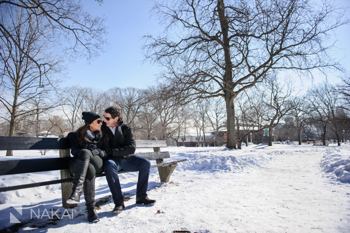 winter chicago engagement photo