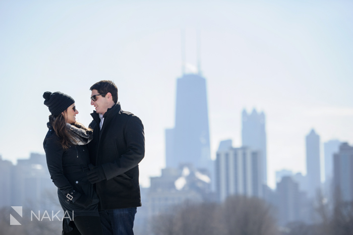 winter lincoln park chicago engagement photo