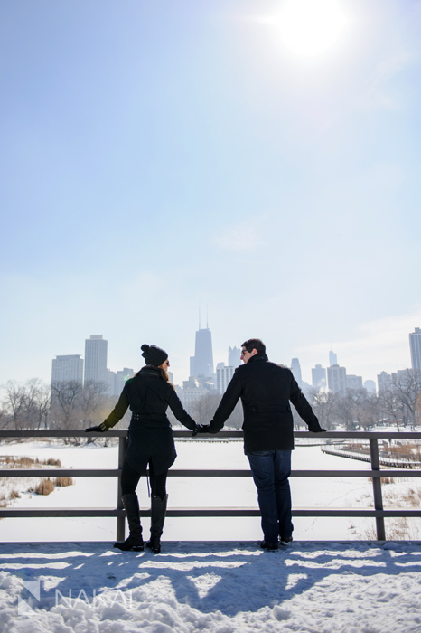 winter chicago engagement picture