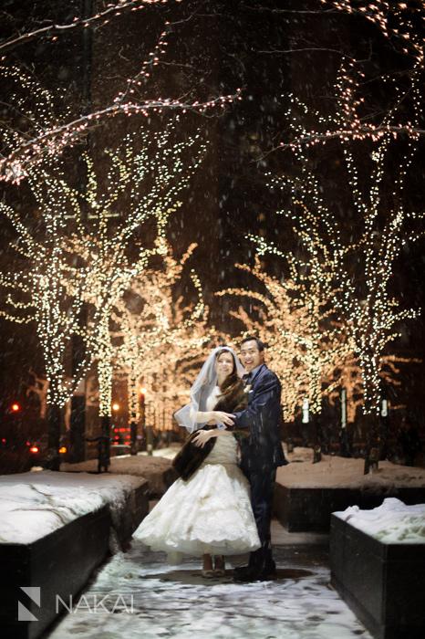Chicago winter wedding photos peninsula spiaggia snow winter chicago wedding photo junglespirit Image collections