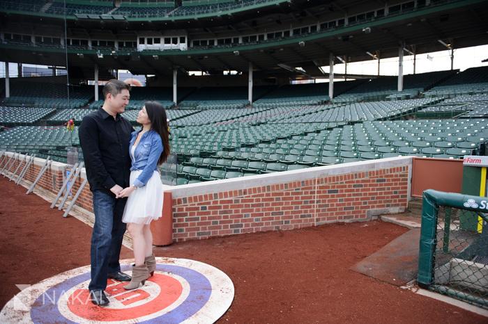 Chicago Cubs Wrigley Field Engagement Photos Ed Sarah Wedding Photographer Kenny Nakai Photography Blog