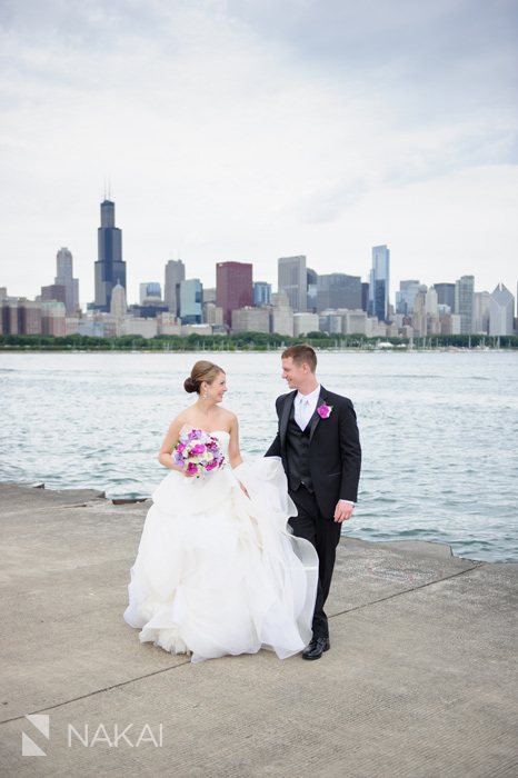 adler chicago skyline lake wedding photo