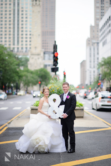 chicago michigan avenue wedding photo