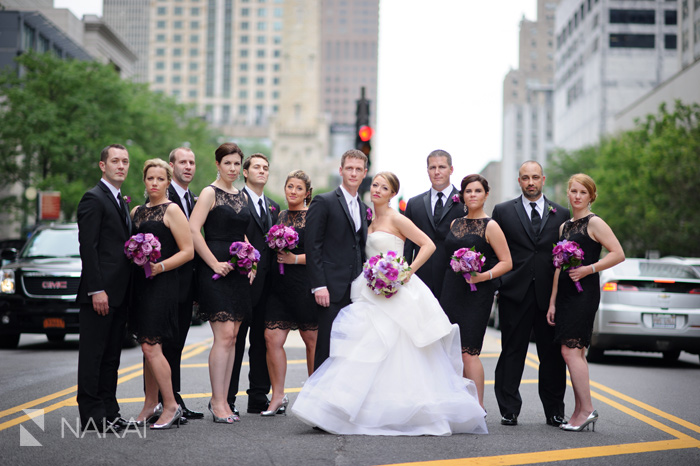chicago michigan ave wedding picture