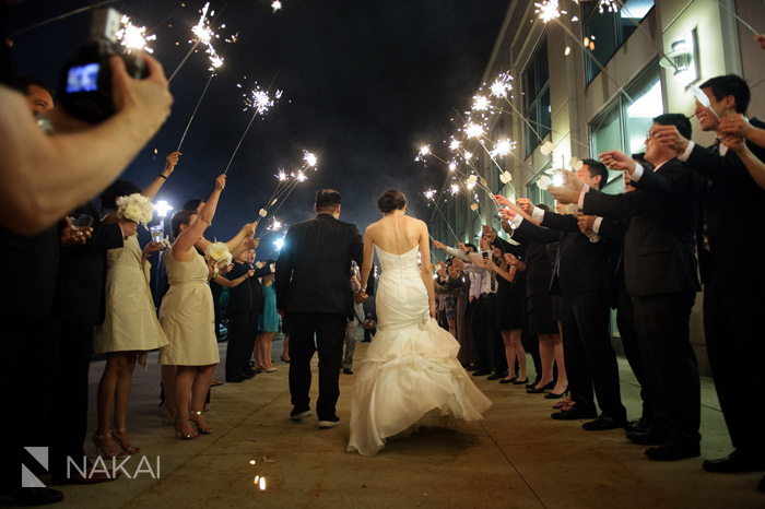 chicago sparkler exit wedding picture