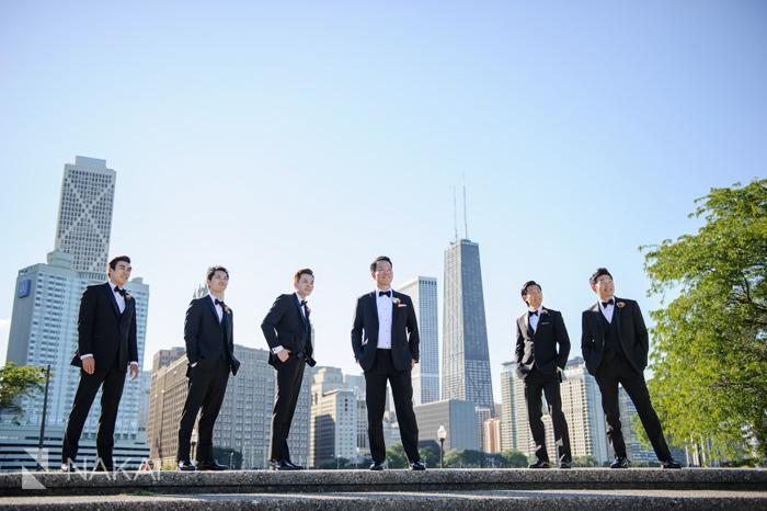 chicago skyline olive park wedding photo