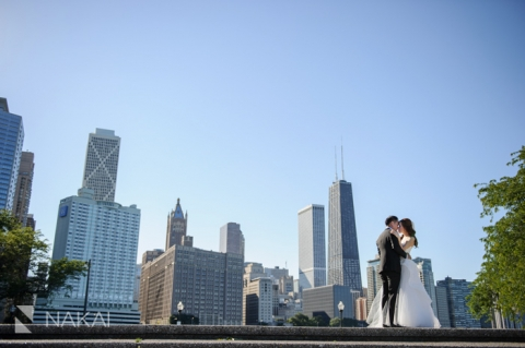 chicago skyline olive park wedding picture