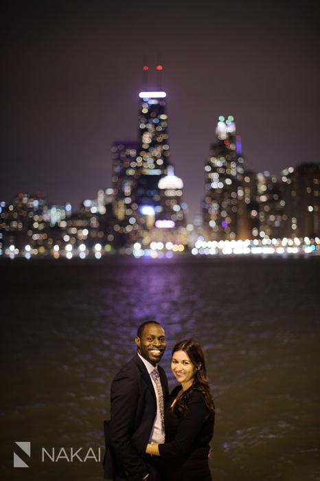 best chicago night engagement photographer skyline