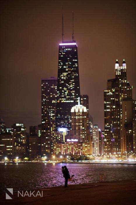 best chicago night engagement photo skyline