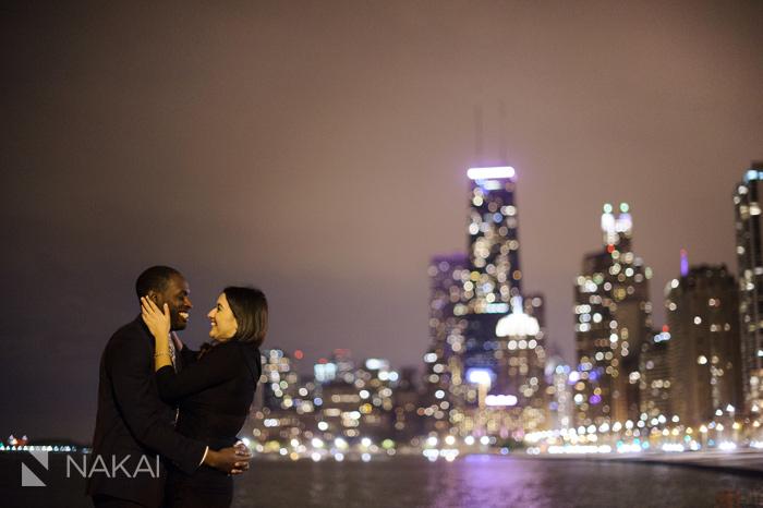 chicago night engagement photographer skyline