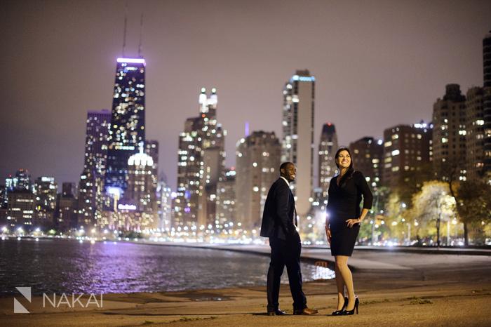 best chicago night engagement picture skyline