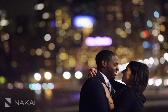 chicago night engagement picture skyline