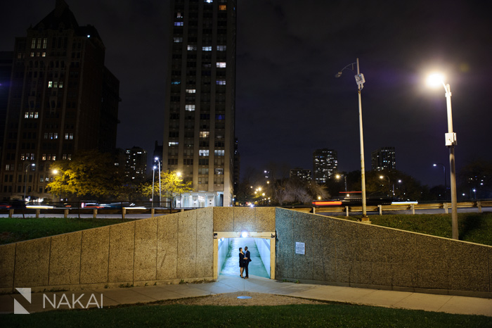 chicago engagement photographer at night