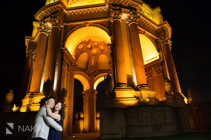 SF palace of fine arts engagement photo at night