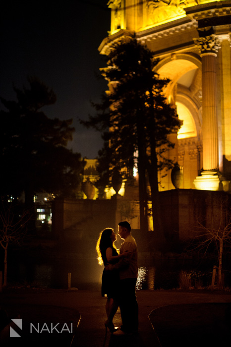 SF palace of fine arts engagement picture at night