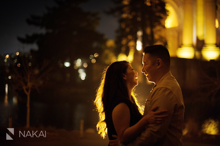 San Francisco palace of fine arts engagement picture at night