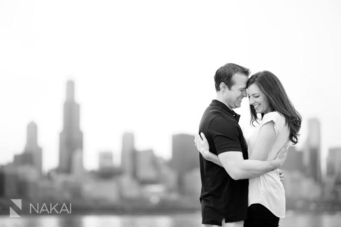 adler planetarium skyline chicago engagement photo
