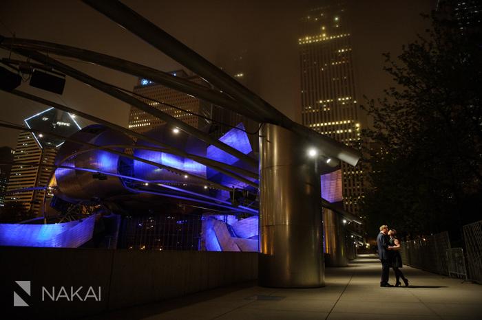 millennium park nighttime engagement session photos