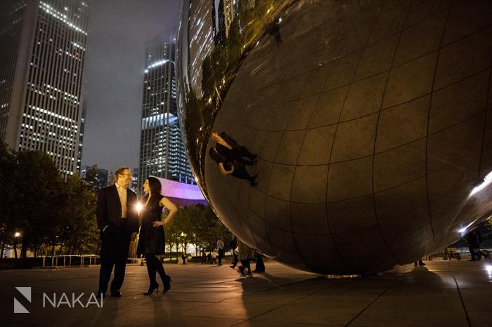 millennium park nighttime engagement session pictures