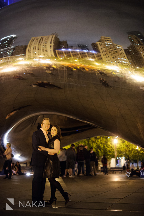 chicago nighttime engagement session photos night