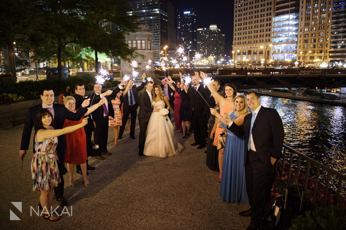 chicago wedding photographer river sparkers at night