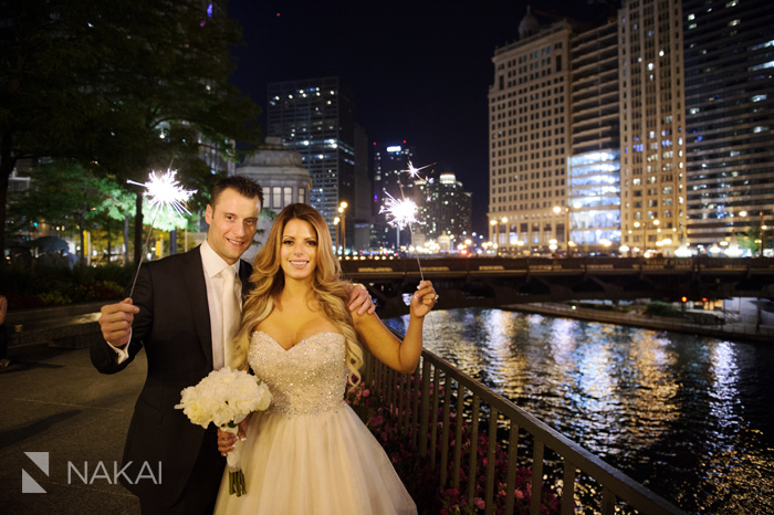 chicago wedding photos river sparkers at night