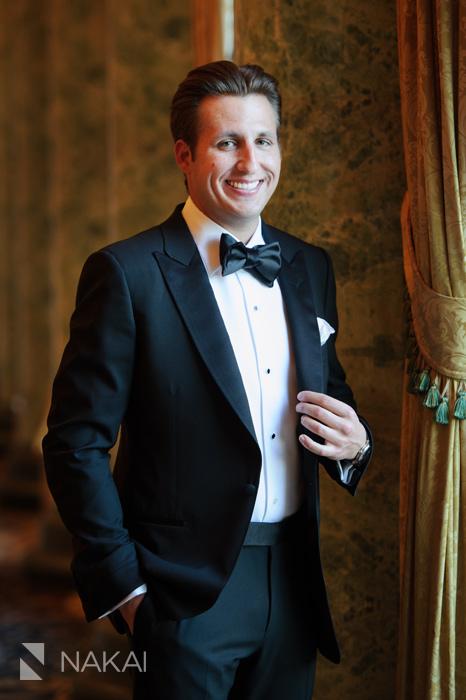 chicago luxury wedding photographer groom getting ready drake hotel