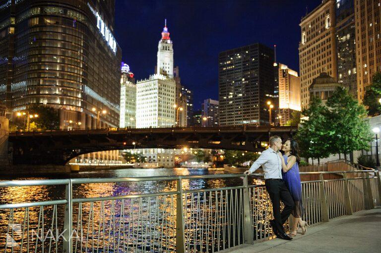 riverwalk night engagement photo chicago