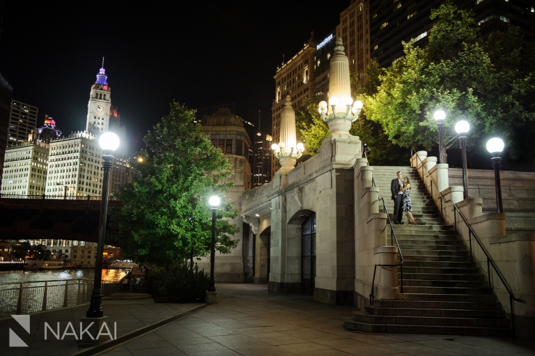 night time best chicago engagement photographers