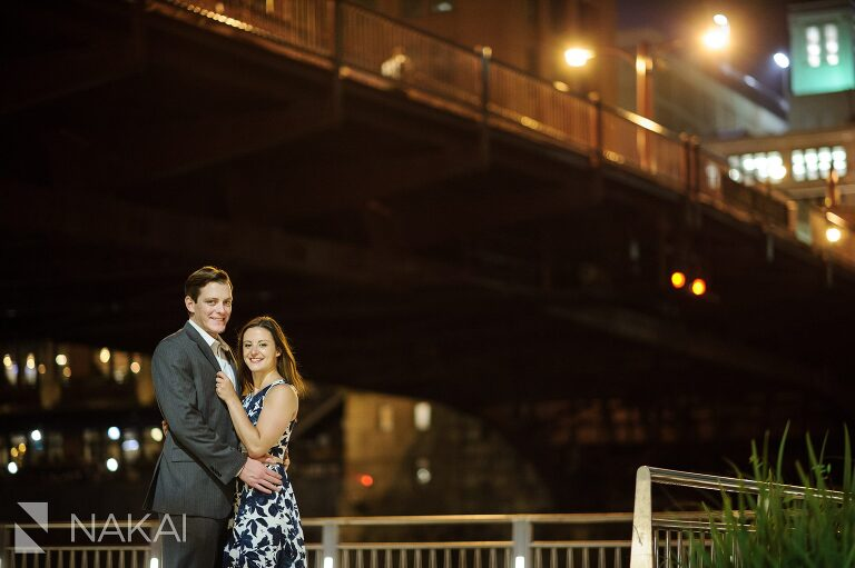 night time best chicago river engagement photos