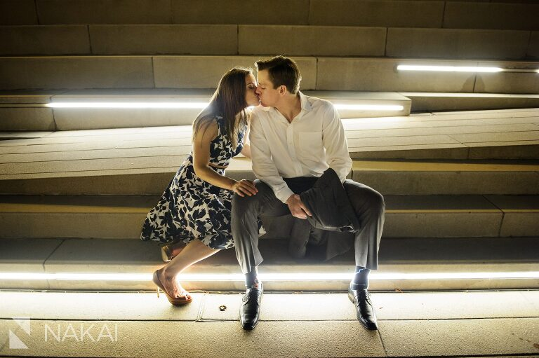 night time best chicago river engagement pictures