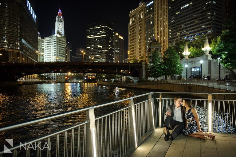 best chicago riverwalk night time engagement images