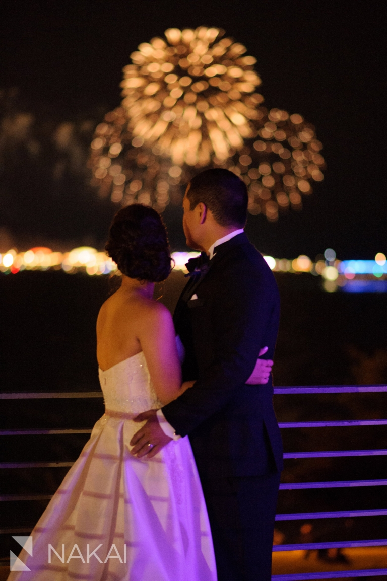 chicago wedding fireworks adler planetarium pictures