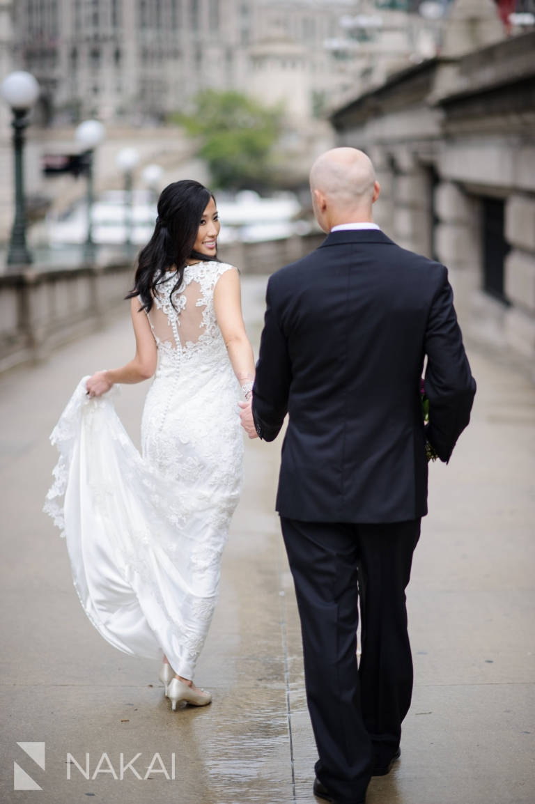 chicago river walk wedding photographer bride groom