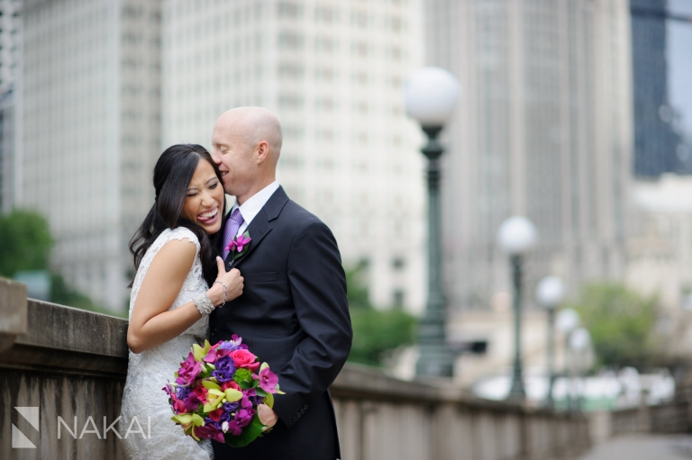 chicago river walk wedding photos bride groom