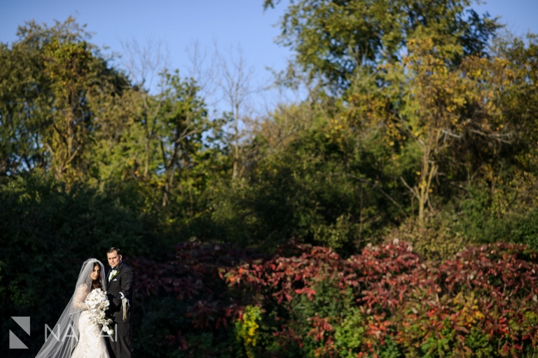 chicago forest preserve wedding photos fall colors