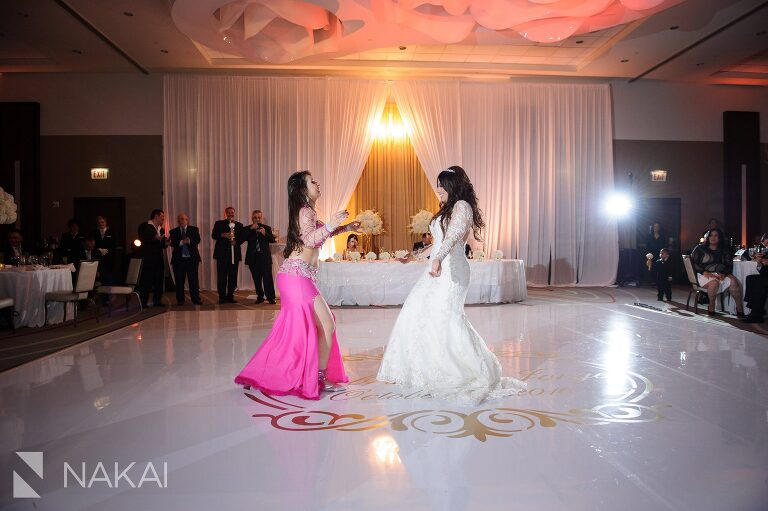loews chicago ohare wedding reception photo belly dancers assyrian