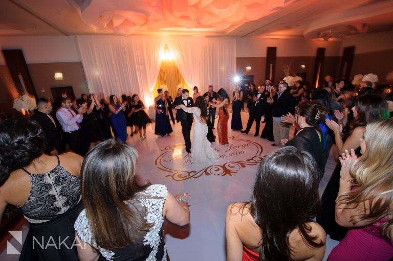 loews chicago ohare wedding reception photo bride groom