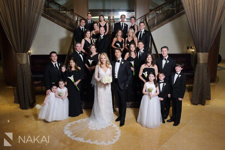 fairmont chicago wedding photo staircase bridal party