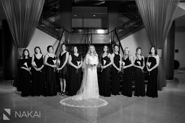 fairmont chicago wedding picture staircase bridal party