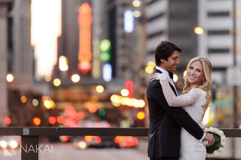 best millennium park wedding photographer street lights