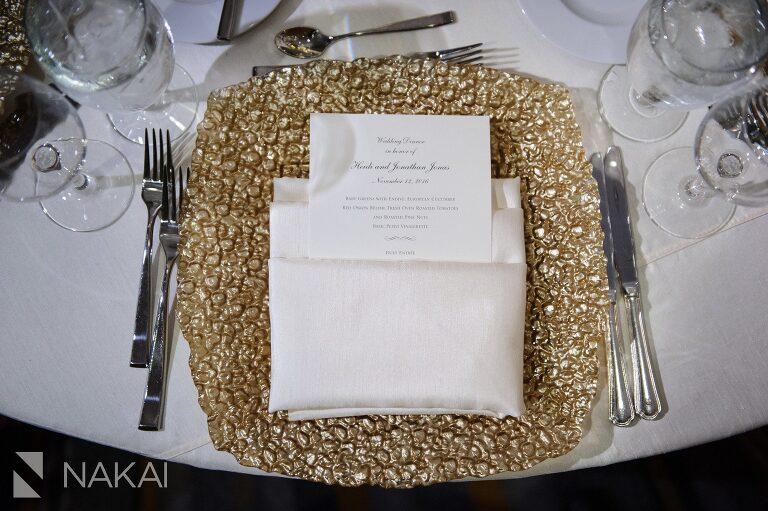 Fairmont Chicago luxury wedding picture plate reception