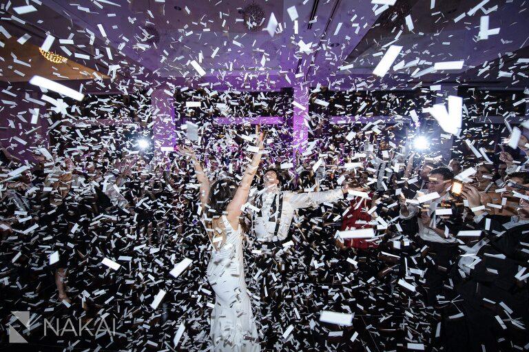 chicago radisson blu wedding photo dancing reception confetti
