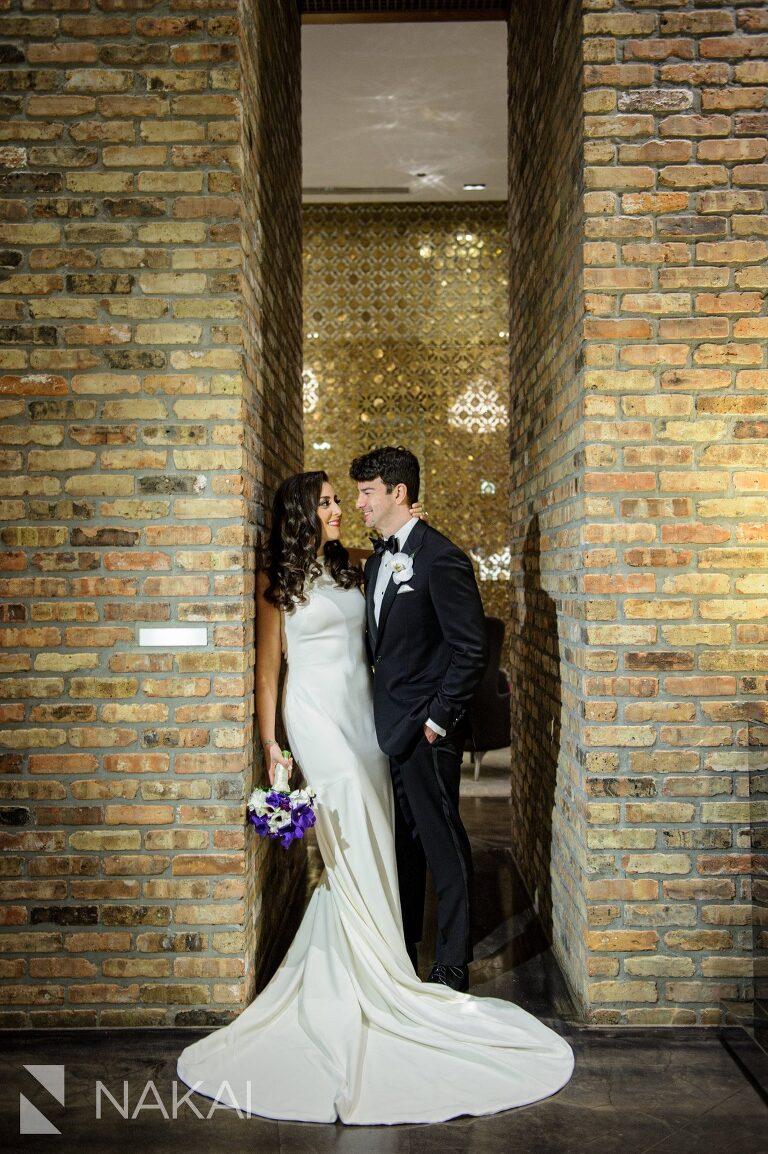 chicago aqua blu wedding photo lobby bride groom