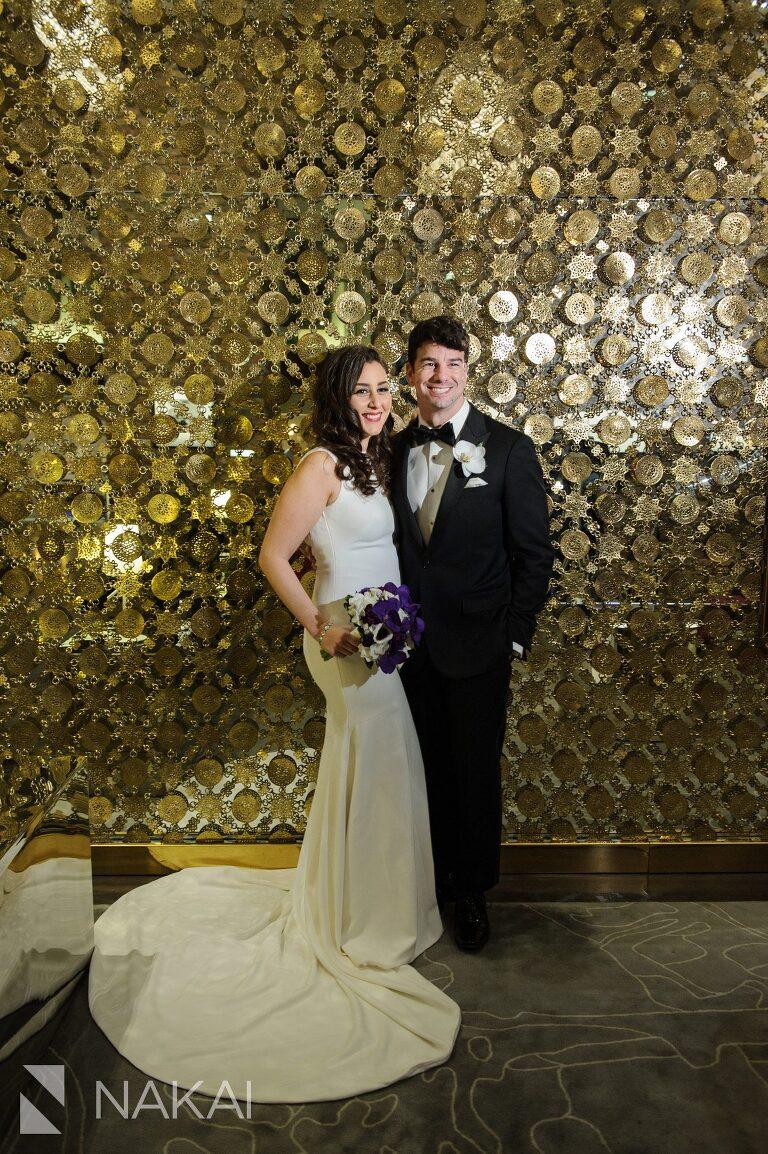 chicago aqua blu wedding photographer lobby bride groom