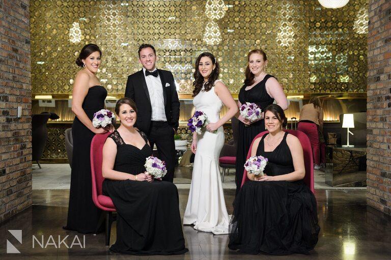 chicago aqua blu wedding photographer bridal party group